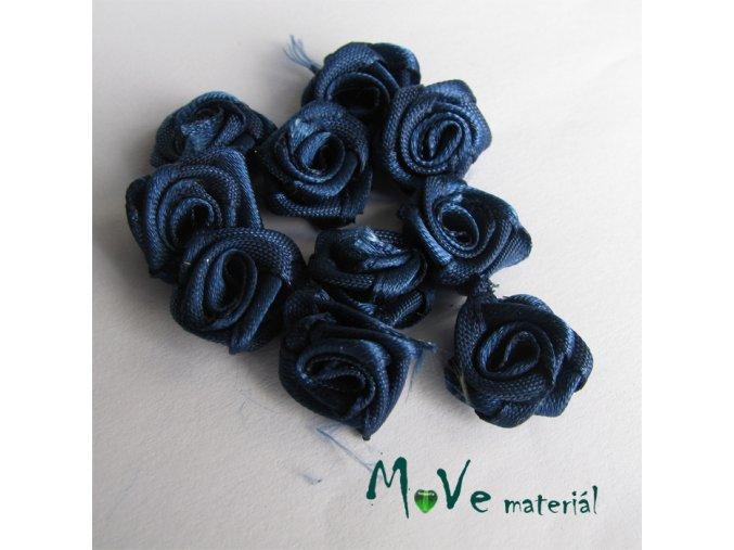 Růžička saténová modrá 15mm, 10kusů