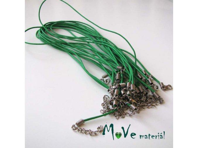 Šňůrka bavlněná s karabinkou voskovaná délka 45cm, zelená