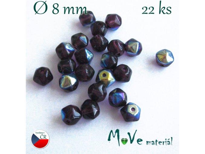 Český pokovený tvarovaný korálek 8mm 22ks