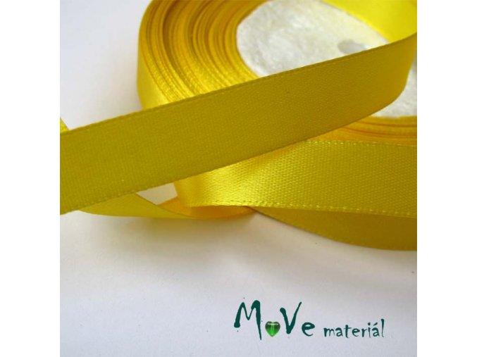 Stuha atlasová jednolící 12mm, 1m žlutá