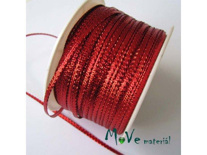 Stuha s lurexem červená, 3mm, 1m