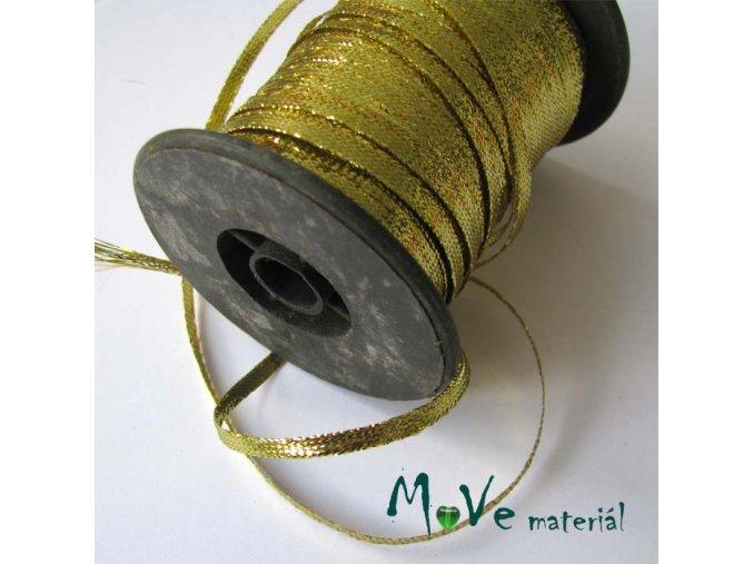 Stuha s lurexem zlatá, 3,5mm, 1m