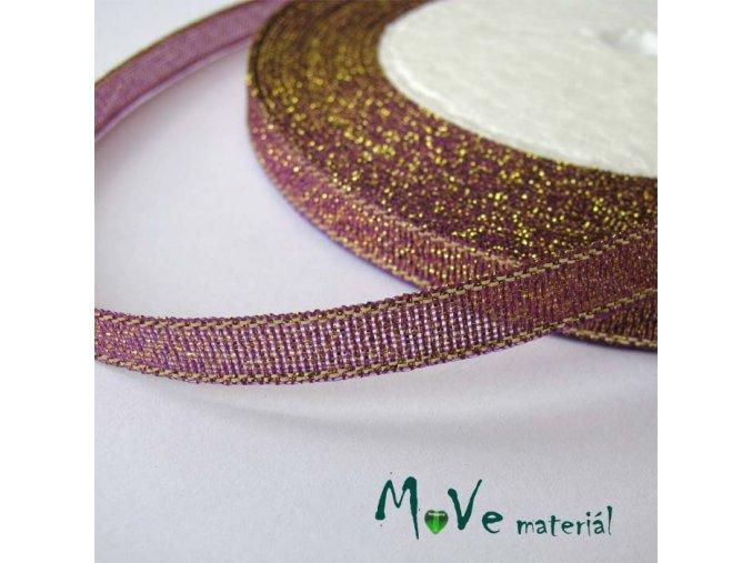 Stuha s lurexem fialová, 8mm, 1m