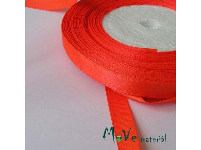 Stuha atlasová jednolící 9mm, 1m neon. oranžová