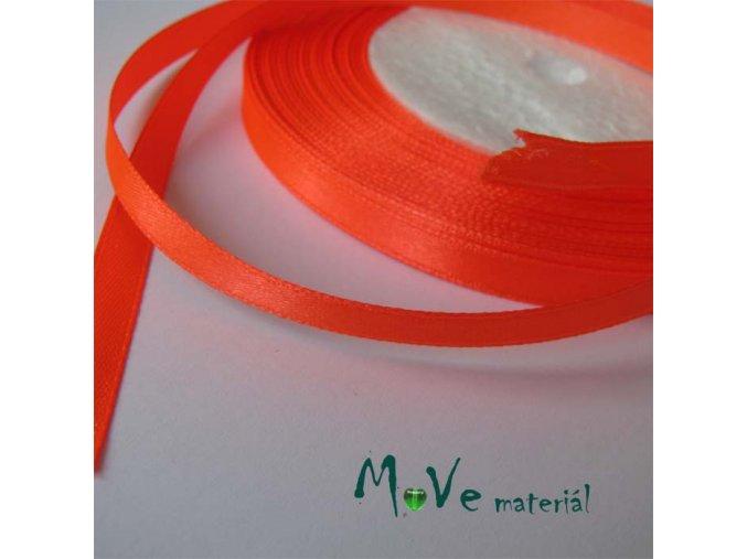 Stuha atlasová jednolící 6mm, 1m neon. oranžová