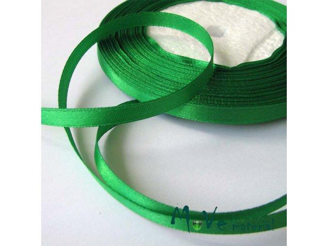 Stuha atlasová jednolící 6mm, 1m zelená