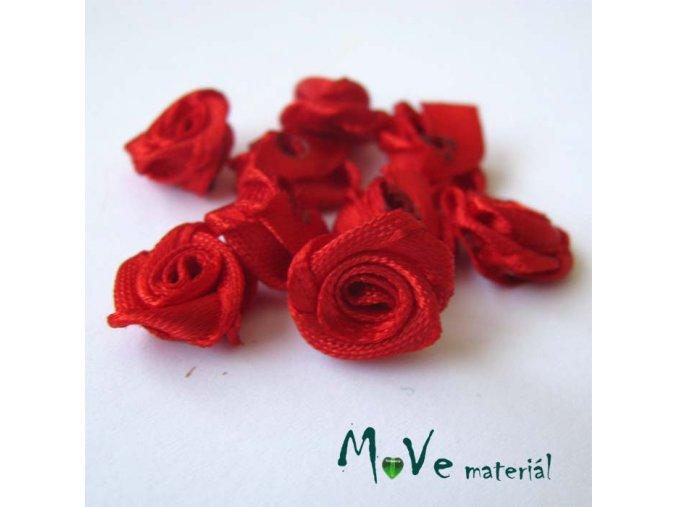 Růžička saténová červená 12mm, 10kusy