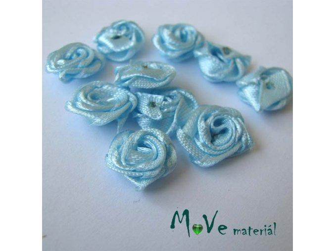 Růžička saténová sv. modrá 12mm, 10kusy
