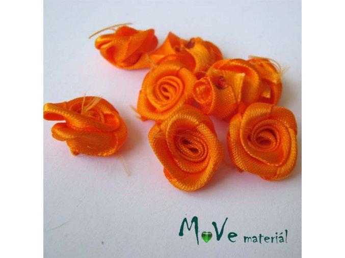 Růžička saténová oranžová 15mm, 10kusů