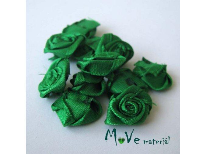 Růžička saténová zelená 15mm, 10kusů