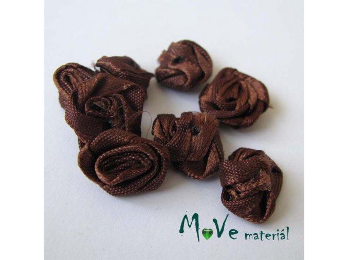 Růžička saténová hnědá 15mm, 10kusů