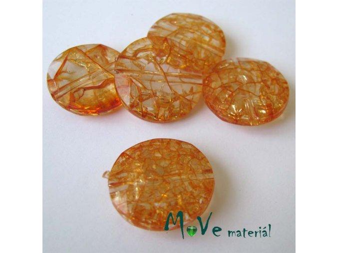 Korálek Krakl plast placka oranžová 20mm 5ks