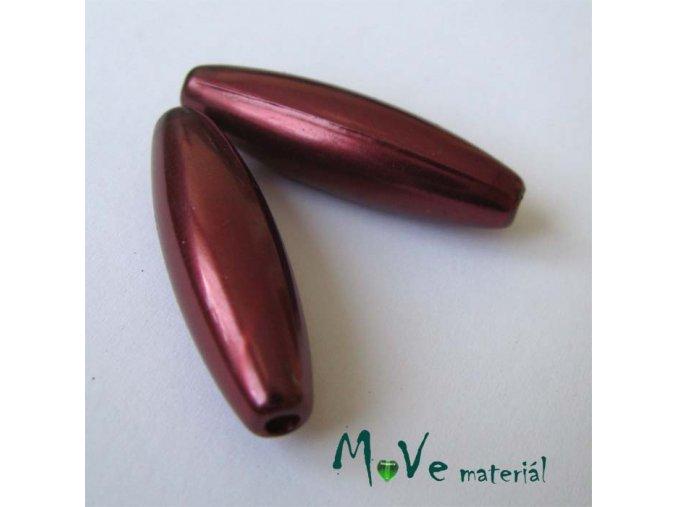 Korálky plast olivka 10x30mm, bordó, 5ks