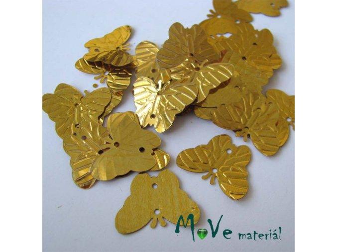 Flitry motýlek zlatý 18x22mm, 5g
