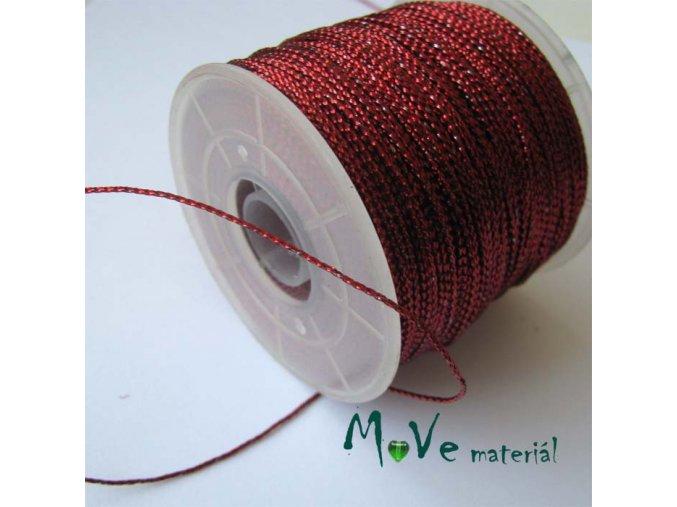 Dutinka s lurexem šíře 0,5mm, 1m, červená