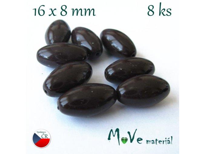 České olivky hnědé 16x8mm 8ks