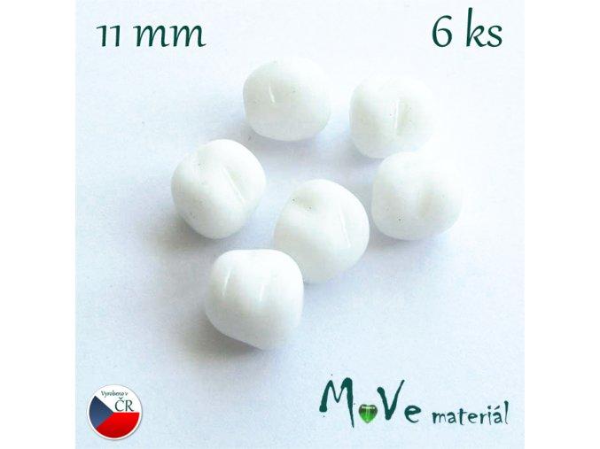 České skleněné bílé brambory 11mm 6ks