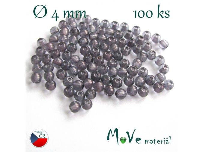 České skleněné fialovo-šedé kuličky 4mm 100 ks