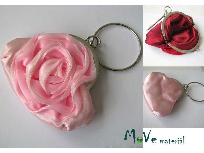Slavnostní kabelka s růží saténová růžová