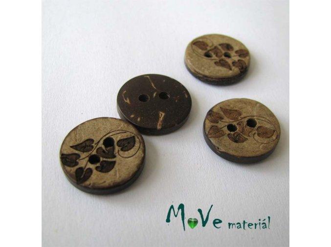 Knoflík kokosový lístečky 15mm, 2ks