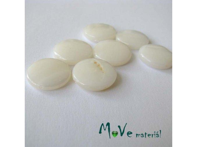 Perleť placička 15 mm 5ks, bílá