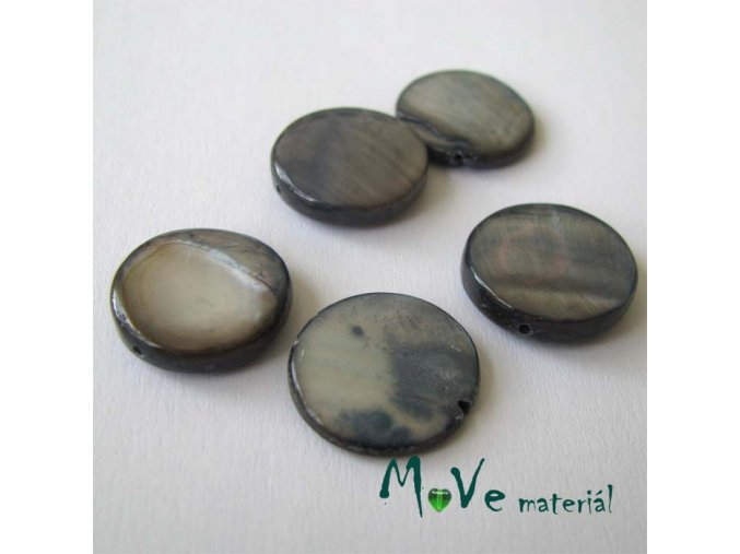 Perleť placička 15 mm 5ks, šedá perleť