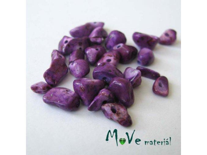 Kamenné zlomky vrtané fialové, 7g