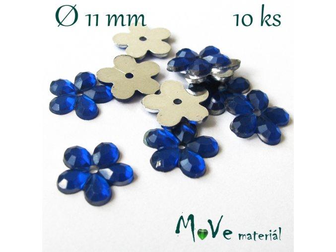 Květina plast našívací 10 ks král. modrá