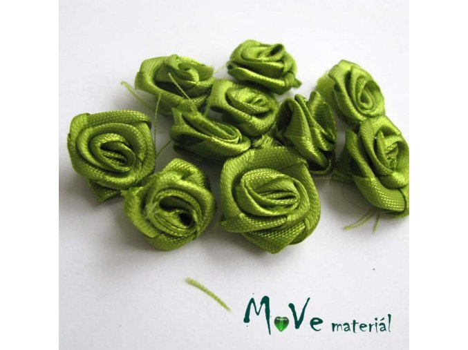 Růžička saténová 20mm sv. zelená, 10kusů