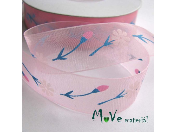 Monofilová stuha růžová kytičky, 22mm, 1m