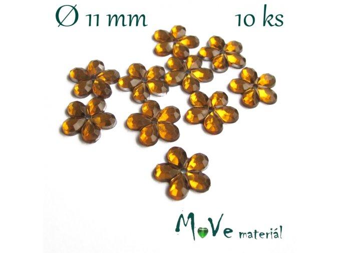 Květina plast 11mm našívací 10 ks žlutooranžová