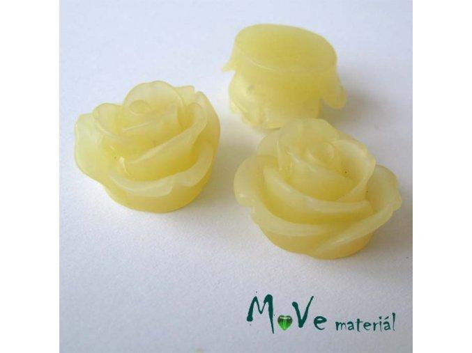Kabošon květ průsvitný A2 - resin - 2ks, vanilka