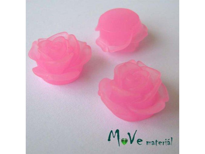 Kabošon květ průsvitný A2 - resin - 2ks, sv. růžová