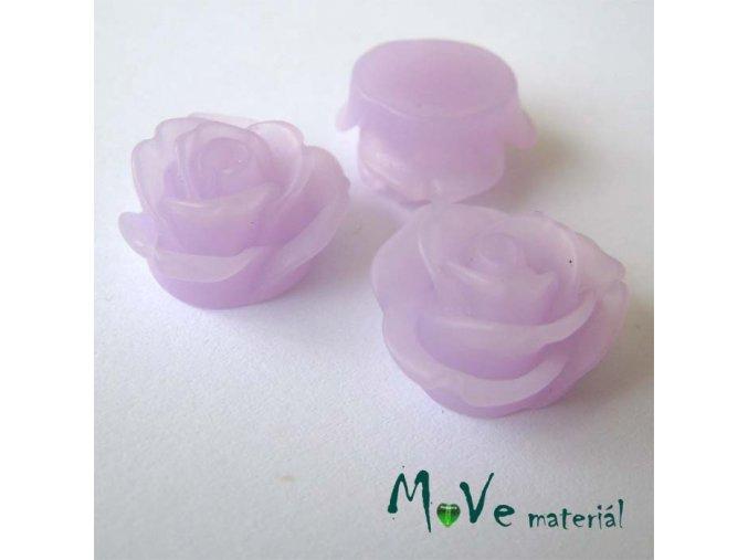 Kabošon květ průsvitný A2 - resin - 2ks, sv. fialová