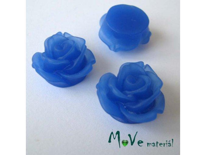 Kabošon květ průsvitný A2 - resin - 2ks, tm. modrá
