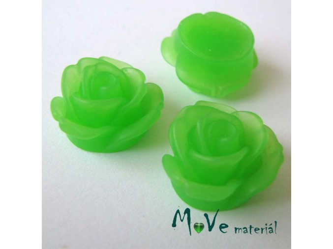 Kabošon květ průsvitný A2 - resin - 2ks, zelená