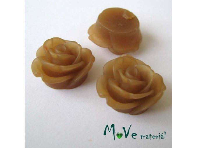Kabošon květ průsvitný A2 - resin - 2ks, hnědá
