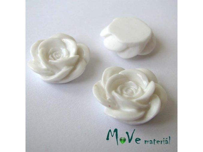 Kabošon květ lesklý A1 - resin - 2ks, bílý