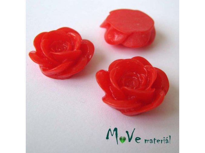 Kabošon květ lesklý A1 - resin - 2ks, červená