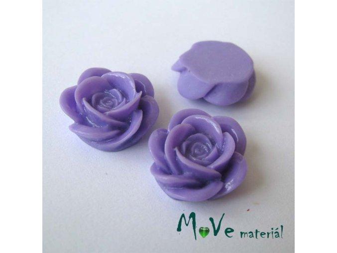 Kabošon květ lesklý A1 - resin - 2ks, fialová