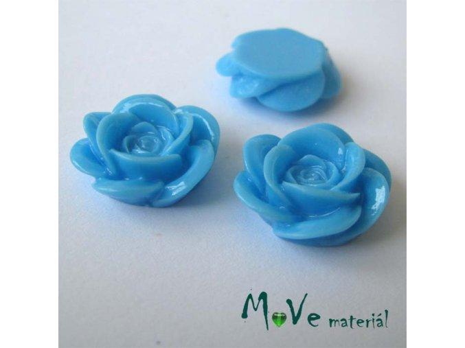 Kabošon květ lesklý A1 - resin - 2ks, sv. modrá