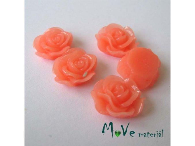 Kabošon květ lesklý A3 - resin - 2ks, tm. lososová