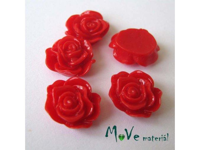 Kabošon květ lesklý A3 - resin - 2ks, červená