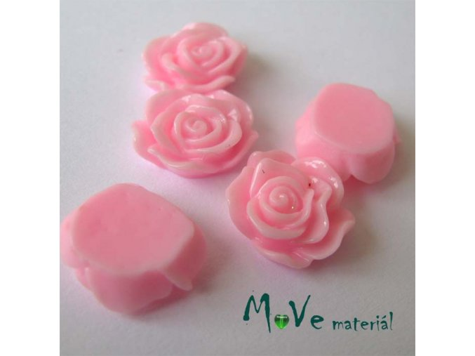 Kabošon květ lesklý A3 - resin - 2ks, sv. růžová