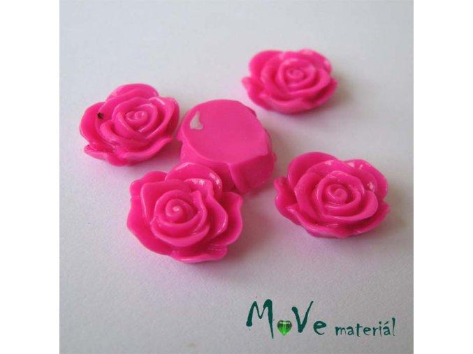 Kabošon květ lesklý A3 - resin - 2ks, tm. růžová