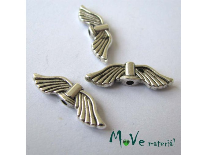 Mezikus kovový 7x20mm křídla, 2ks, stříbrná