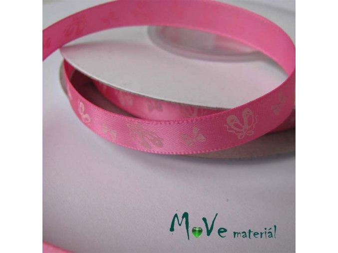 Stuha saténová balerínky 10mm, 1m, růžová
