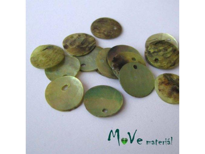 Perleťové penízky 13mm, 10ks, sv, zelené