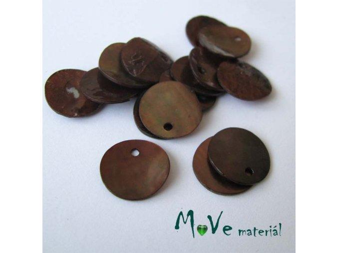 Perleťové penízky 13mm, 10ks, hnědé