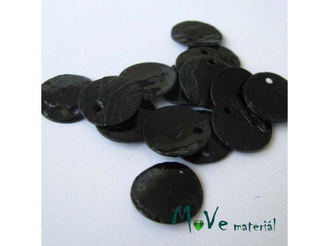 Perleťové penízky 13mm, 10ks, černé